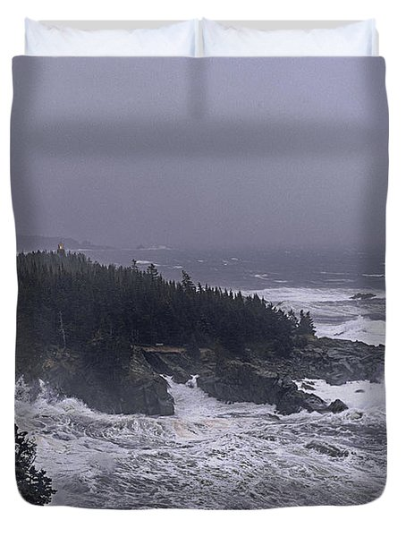 Raging Fury At Quoddy Duvet Cover by Marty Saccone