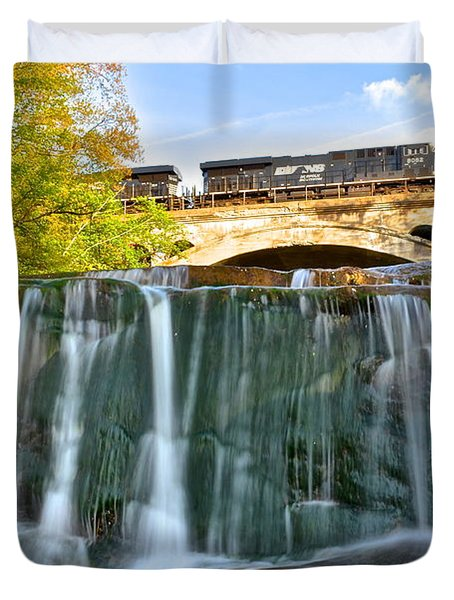 Railroad Waterfall Duvet Cover by Frozen in Time Fine Art Photography