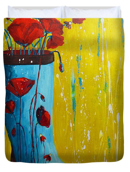 Rain Boot Series Unusual Flower Pots Duvet Cover by Patricia Awapara