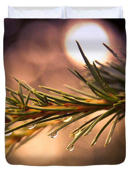 Rain Droplets on Pine Needles Duvet Cover by Loriental Photography