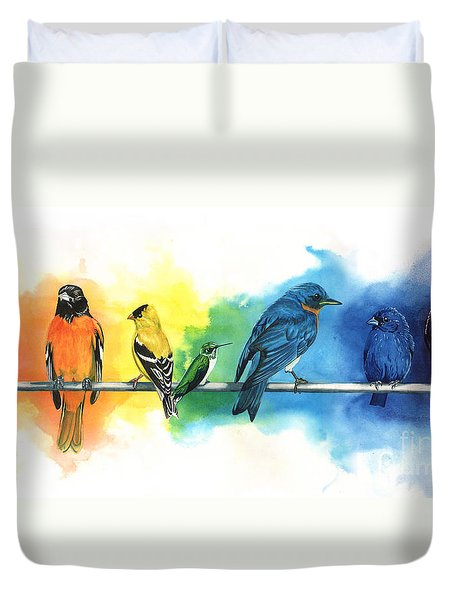 Rainbow Birds Duvet Cover by Antony Galbraith
