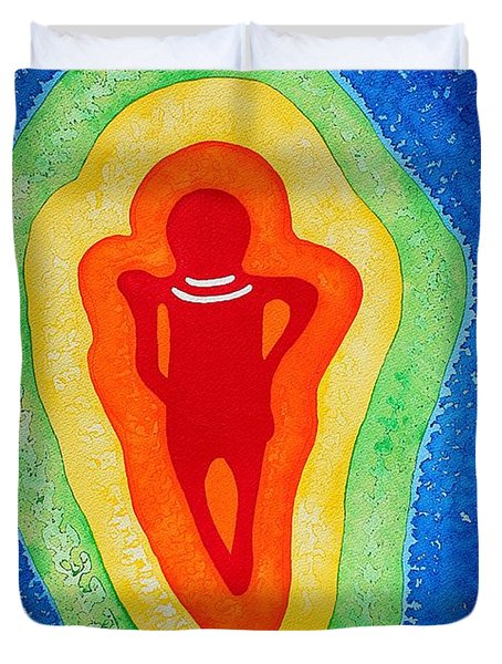 Rainbow Body original painting Duvet Cover by Sol Luckman