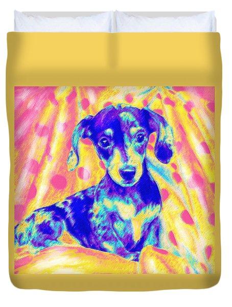 Rainbow Dachshund Duvet Cover by Jane Schnetlage