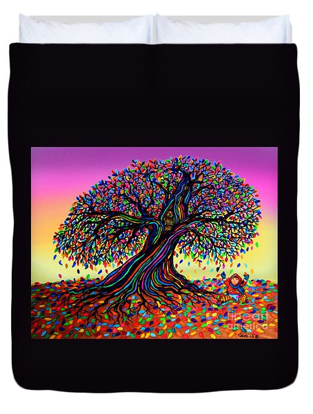 Rainbow Dreams And Falling Leaves Duvet Cover by Nick Gustafson