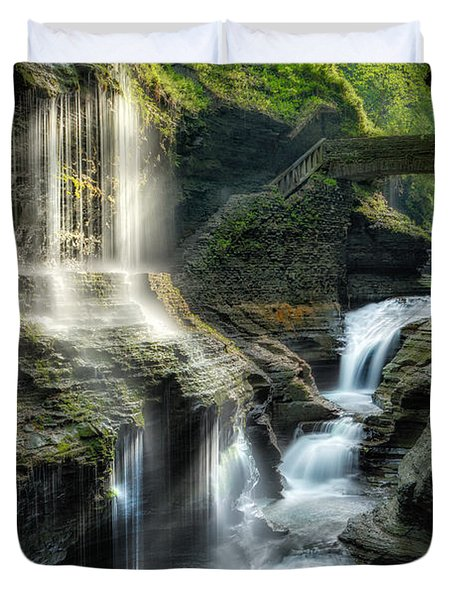 Rainbow Falls Duvet Cover by Bill  Wakeley