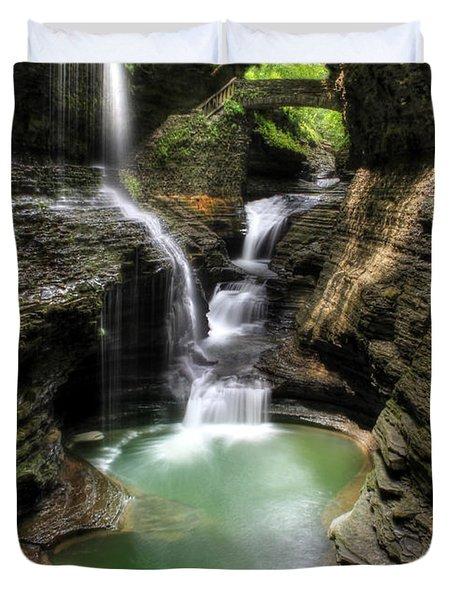 Rainbow Falls Duvet Cover by Lori Deiter