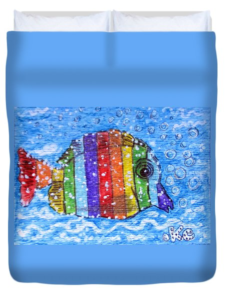 Rainbow Fish Duvet Cover by Kathy Marrs Chandler