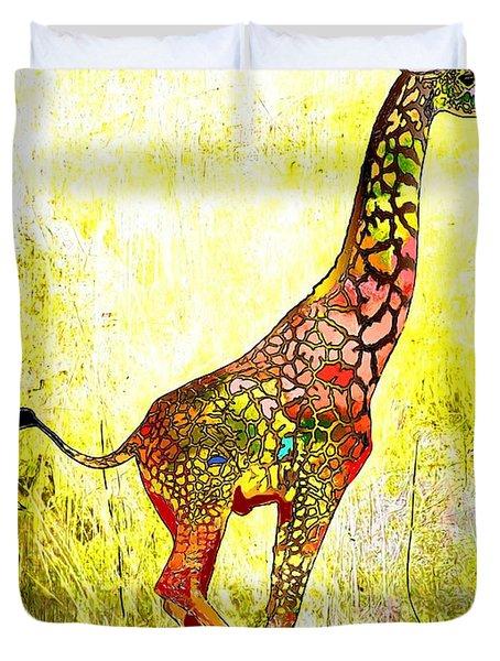 Rainbow Giraffe Duvet Cover by Daniel Janda