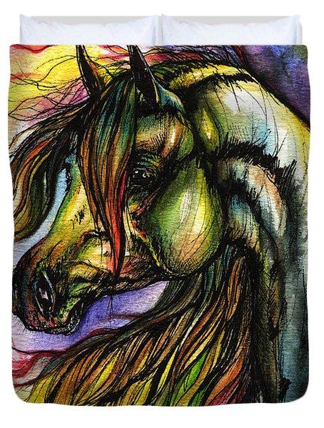 Rainbow Horse 2 Duvet Cover by Angel  Tarantella