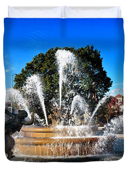 Rainbow In The Jc Nichols Memorial Fountain Duvet Cover by Andee Design