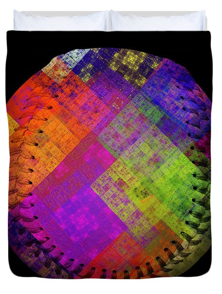 Rainbow Infusion Baseball Square Duvet Cover by Andee Design