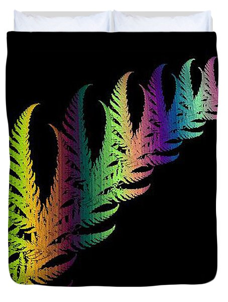 Rainbow Leaves Fractals Duvet Cover by Mikki Cucuzzo