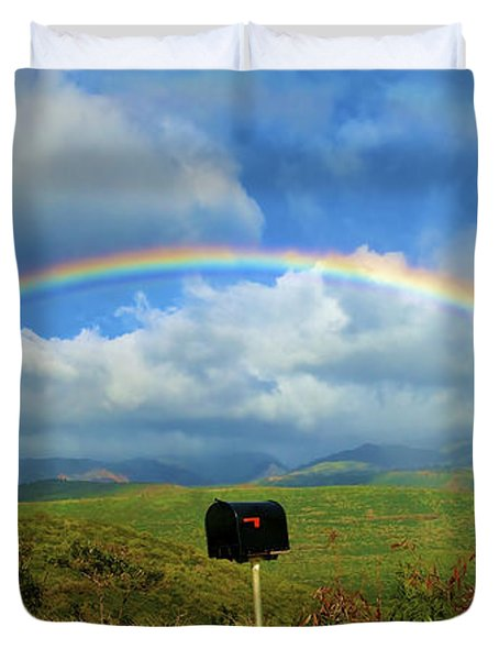 Rainbow Over a Mailbox Duvet Cover by Kicka Witte