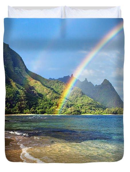 Rainbow Over Haena Beach Duvet Cover by M Swiet Productions
