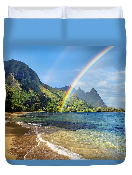 Rainbow Over Haena Beach Duvet Cover by M Swiet Productions