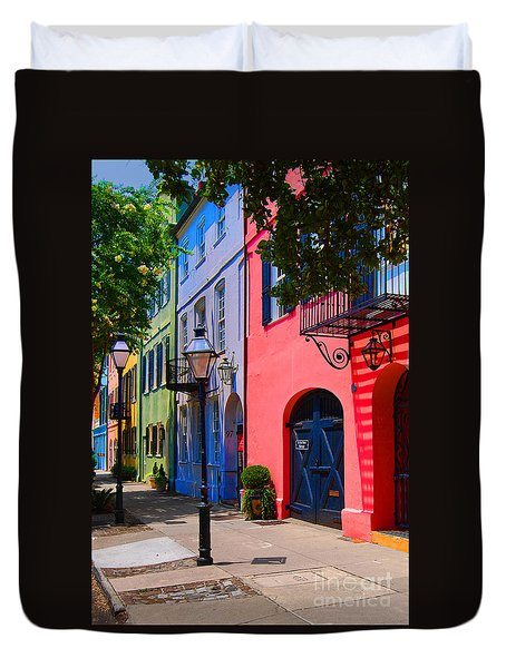 Rainbow Row Charleston Duvet Cover by Skip Willits