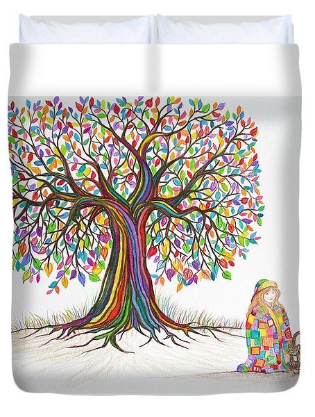 Rainbow Tree Dreams Duvet Cover by Nick Gustafson