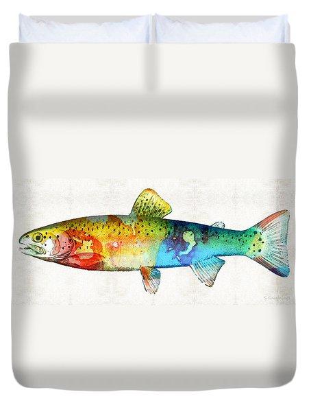 Rainbow Trout Art By Sharon Cummings Duvet Cover by Sharon Cummings