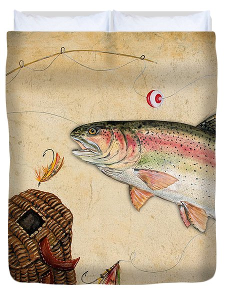 Rainbow Trout Duvet Cover by Jean Plout