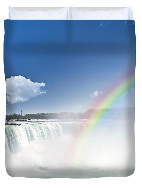 Rainbows at Niagara Falls Duvet Cover by Elena Elisseeva