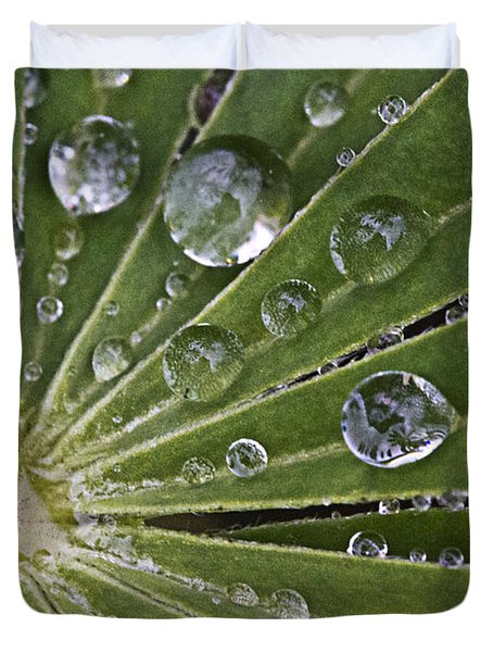Raindrops On Lupin Leaf Duvet Cover by Heiko Koehrer-Wagner
