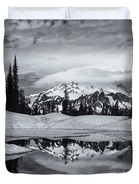 Rainier Reflections Duvet Cover by Mike  Dawson