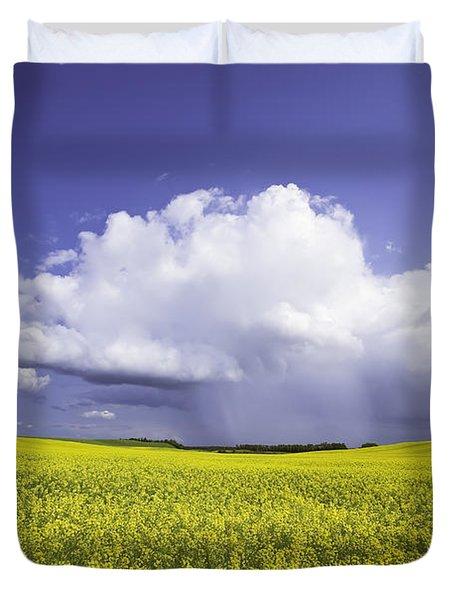 Rainstorm Over Canola Field Crop Duvet Cover by Ken Gillespie