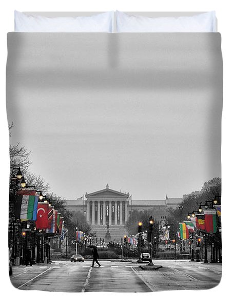 Rainy Day on the Parkway Duvet Cover by Bill Cannon