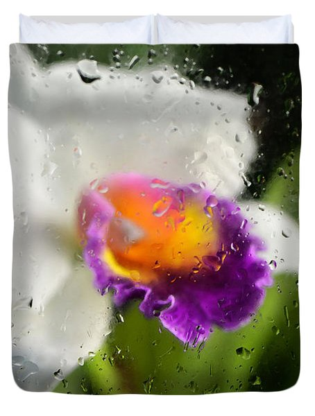 Rainy Day Orchid - Botanical Art By Sharon Cummings Duvet Cover by Sharon Cummings