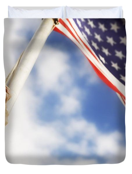 Raising An American Flag Duvet Cover by Chris and Kate Knorr