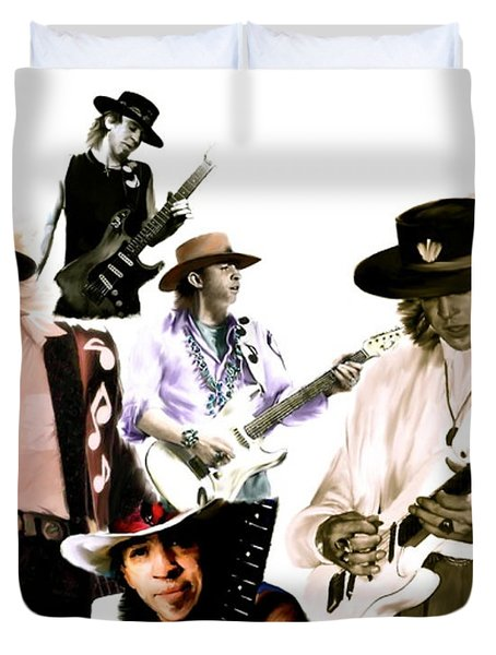 Rave On  Stevie Ray Vaughan Duvet Cover by Iconic Images Art Gallery David Pucciarelli