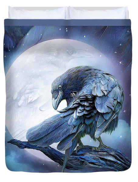 Raven Moon Duvet Cover by Carol Cavalaris