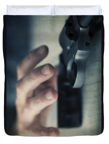 Reaching For A Gun Duvet Cover by Edward Fielding