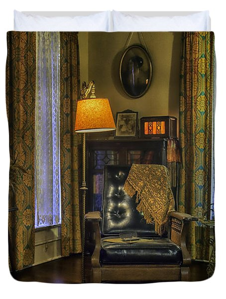 Reading Nook With Leather Chair Duvet Cover by Lynn Palmer