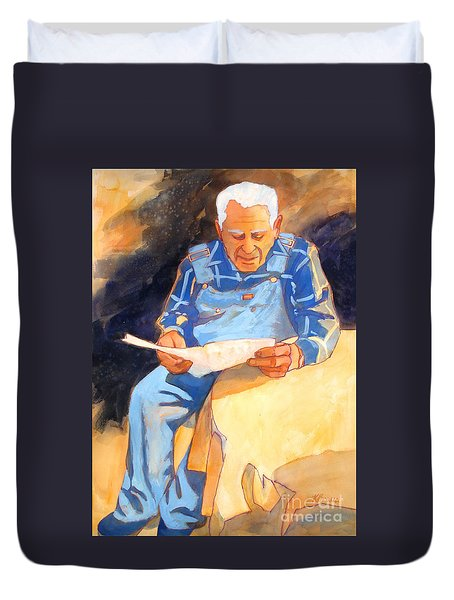 Reading Time Duvet Cover by Kathy Braud