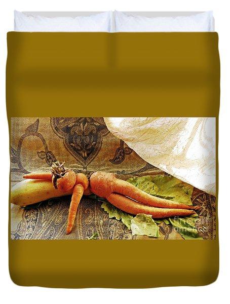 Reclining Nude Carrot Duvet Cover by Sarah Loft