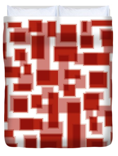 Red Abstract Patches Duvet Cover by Frank Tschakert