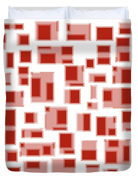 Red Abstract Rectangles Duvet Cover by Frank Tschakert