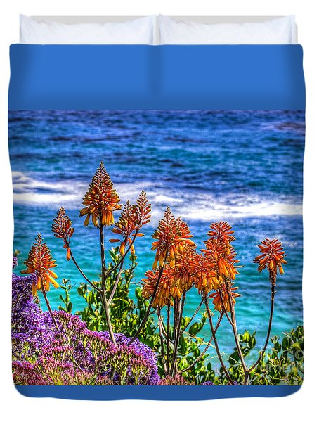 Red Aloe By The Pacific Duvet Cover by Jim Carrell