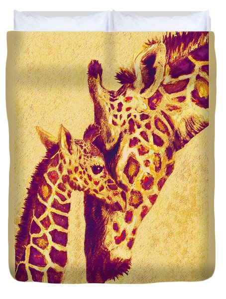 Red And Gold Giraffes Duvet Cover by Jane Schnetlage
