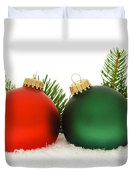 Red And Green Christmas Baubles Duvet Cover by Elena Elisseeva