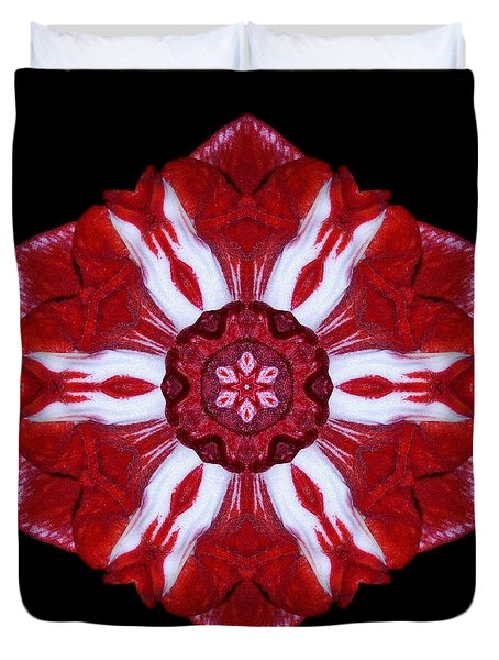 Red And White Amaryllis Iv Flower Mandala Duvet Cover by David J Bookbinder