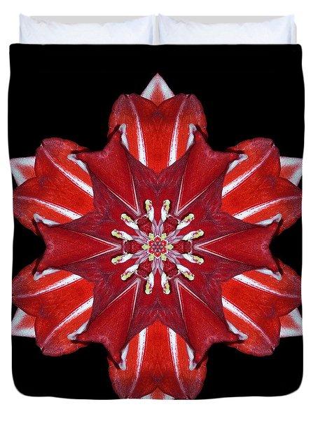 Red And White Amaryllis Vii Flower Mandala Duvet Cover by David J Bookbinder