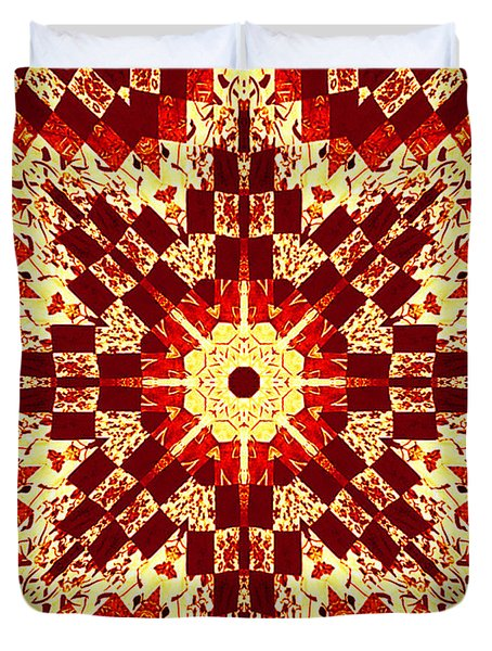 Red And White Patchwork Art Duvet Cover by Barbara Griffin