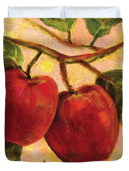 Red Apples on a Branch Duvet Cover by Jen Norton