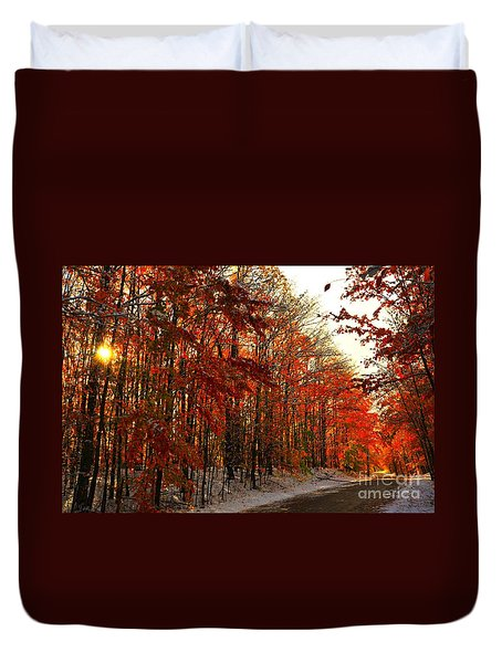 Red Autumn Road In Snow Duvet Cover by Terri Gostola
