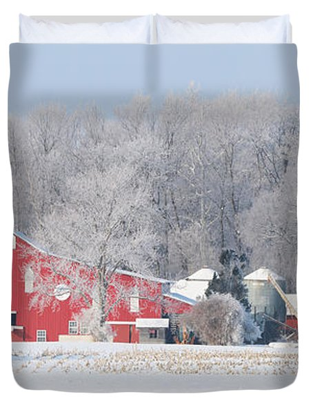 Red Barn Frosty Morning Panorama1 Duvet Cover by Jack Schultz