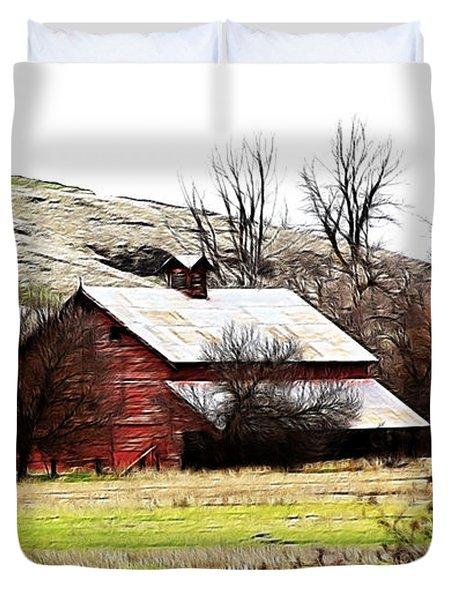 Red Barn Duvet Cover by Steve McKinzie
