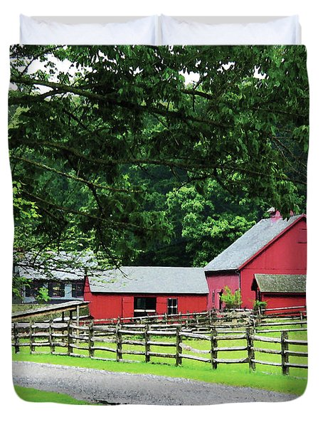 Red Barn Duvet Cover by Susan Savad