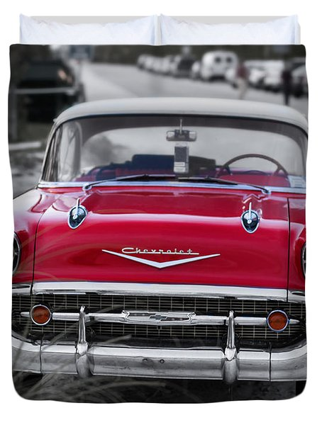 Red Belair At The Beach Standard 11x14 Duvet Cover by Edward Fielding